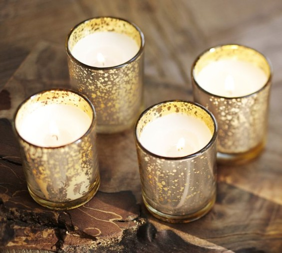 FILLED MERCURY GLASS CANDLES, SET OF 6. Pottery Barn