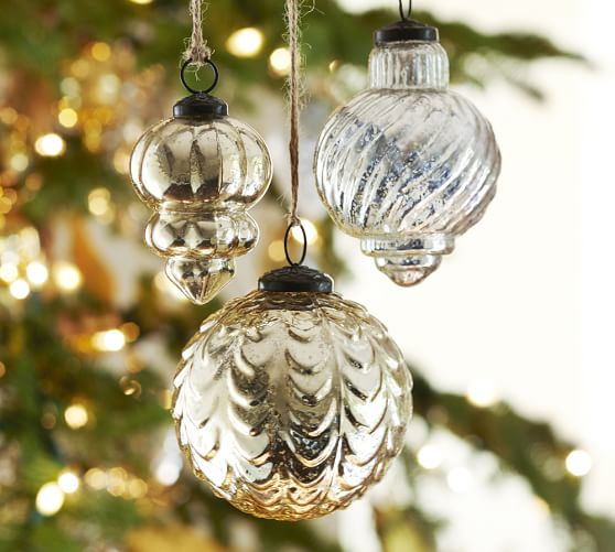 Pottery Barn ECLECTIC MERCURY GLASS ORNAMENTS - CHAMPAGNE & SILVER, SET OF 3