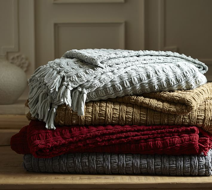 Pottery Barn CHENILLE BASKETWEAVE THROW on sale