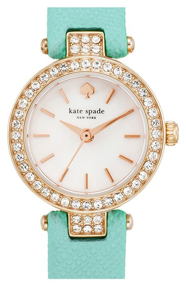 kate spade new york 'tiny metro' crystal bezel leather strap watch, 20mm in Turquoise