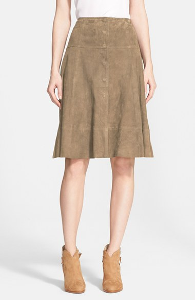 Joie 'Mylon' Suede A-Line Skirt in Olive