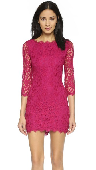 Diane von Furstenberg Zarita Lace Dress in Raspberry Coulis