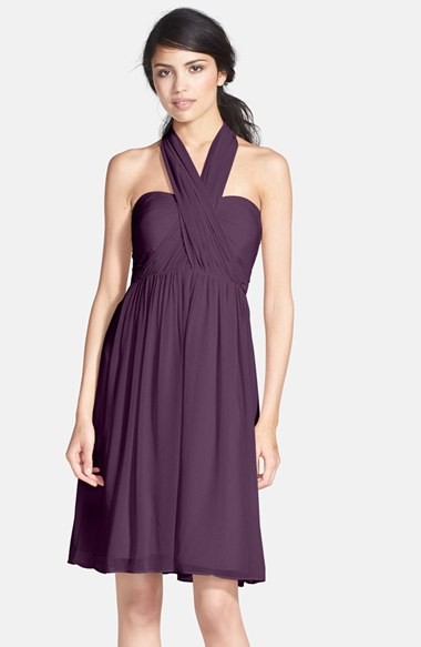 Jenny Yoo 'Keira' Convertible Strapless Chiffon Dress in Plum
