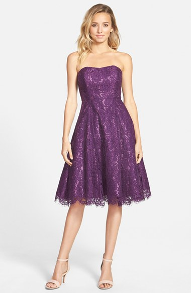Soprano Strapless Lace Fit & Flare Midi Dress in Plum Country wedding guest dresses
