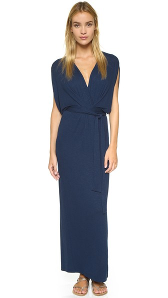 Yumi Kim Tie Me Up Kimono Maxi Dress in Navy