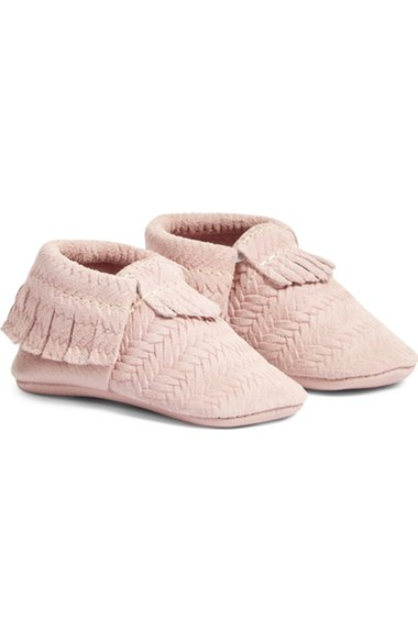 Freshly Picked 'Cardigan' Woven Leather Moccasin (Baby) Light Pink Leather Nordstrom anniversary sale baby