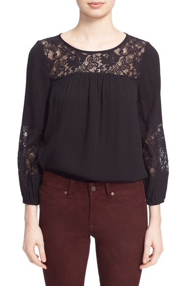 Joie 'Coastal' Lace Inset Crepe Top Caviar Nordstrom anniversary sale women's shirts tops