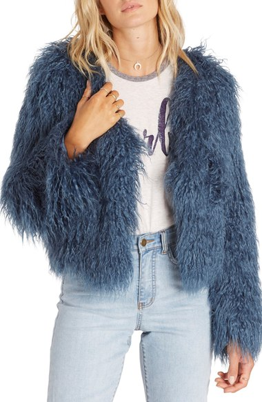 Billabong Waiting For You Faux Fur Jacket Moroccan Blue faux fur coats