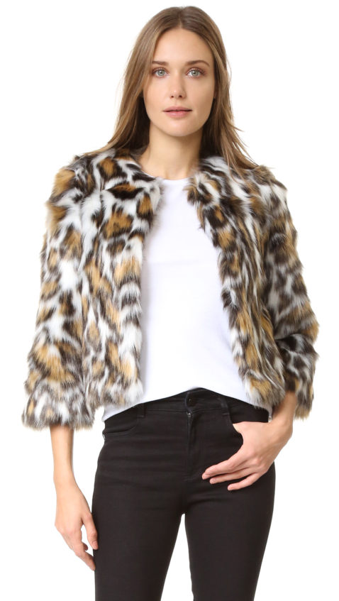 Moschino Faux Fur Jacket Leopard Print faux fur coats