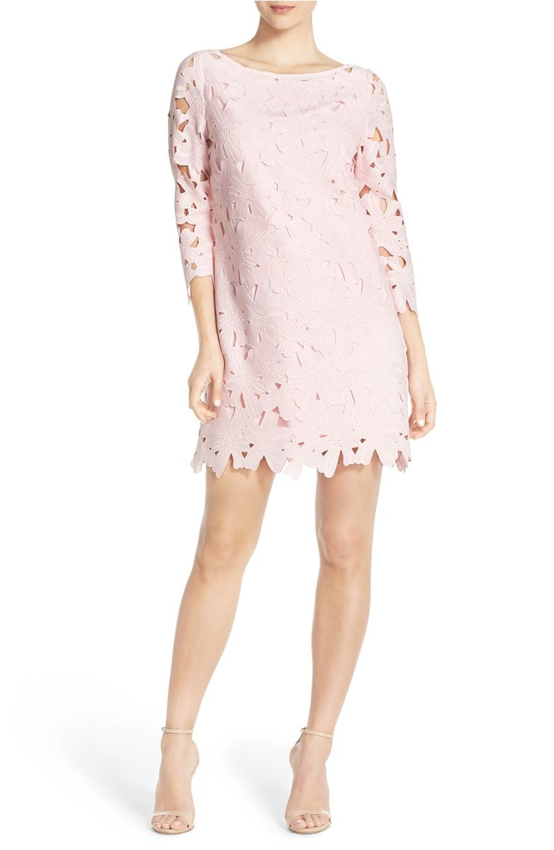 FELICITY & COCO Floral Lace Shift Dress Light Pink lace shift dresses for spring wedding guest season