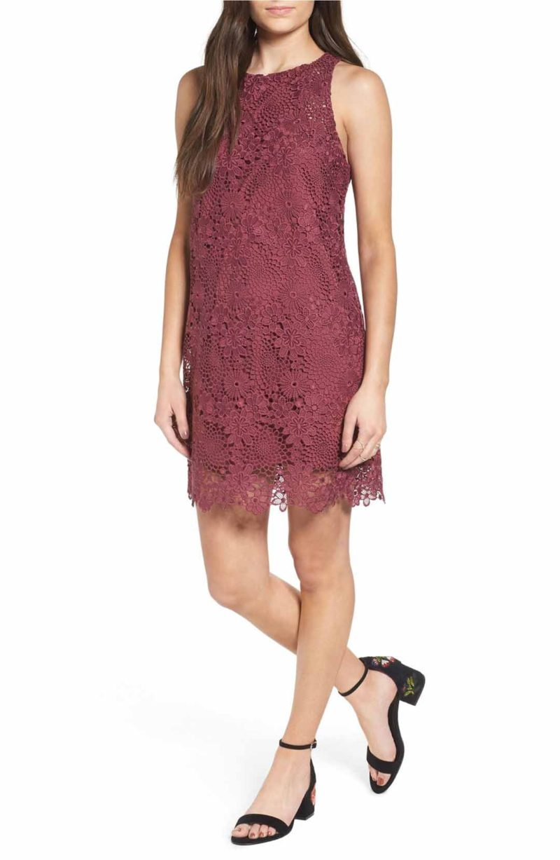 WAYF Racerback Lace Minidress Rose lace shift dresses for spring wedding guest season