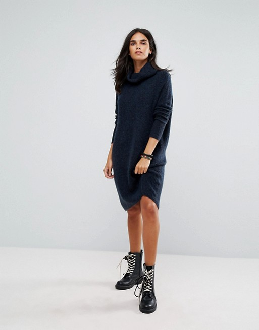 Only Roll Neck Knitted Sweater Dress Blue sweater dresses fall winter