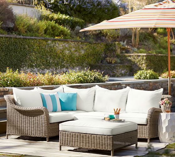 Pottery Barn BUILD YOUR OWN - TORREY ALL-WEATHER WICKER ROLL-ARM SECTIONAL COMPONENTS - NATURAL pottery barn flash sale