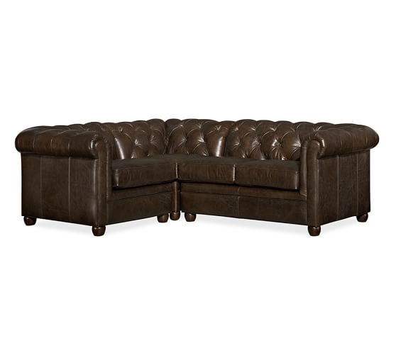 Pottery Barn CHESTERFIELD LEATHER 3-PIECE SECTIONAL Vintage Cocoa pottery barn flash sale