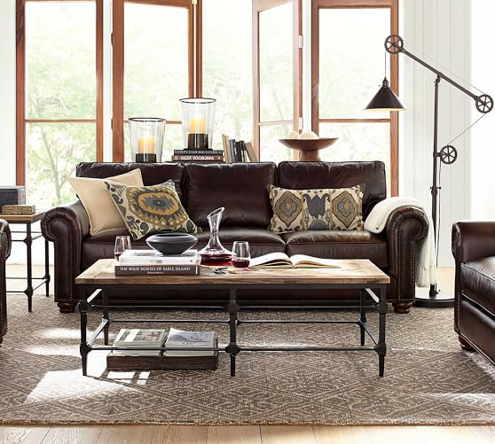Pottery Barn WEBSTER SOFA COLLECTION Leather Legacy Tobacco pottery barn flash sale