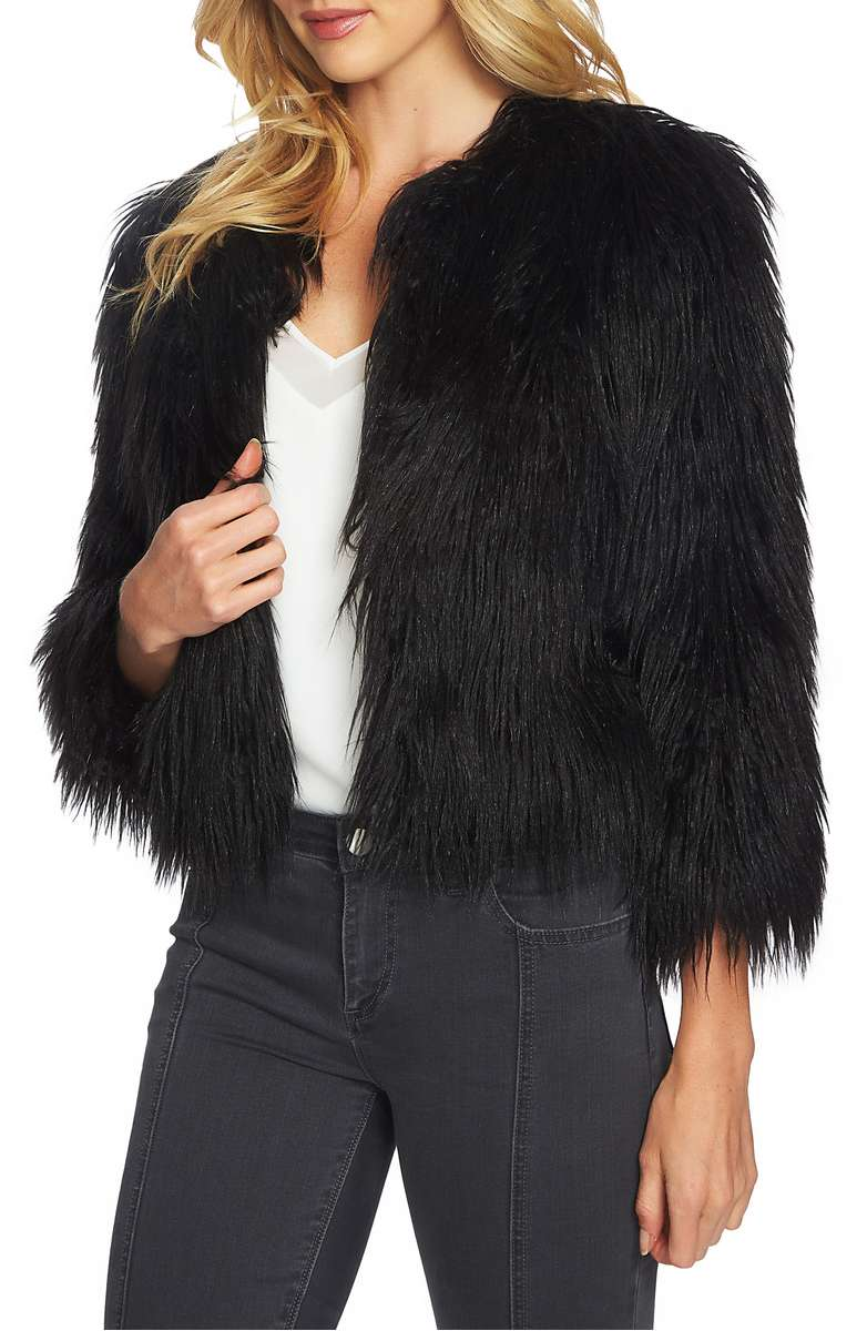 1.STATE Crop Faux Fur Jacket Rich Black faux fur jackets fall winter holiday party