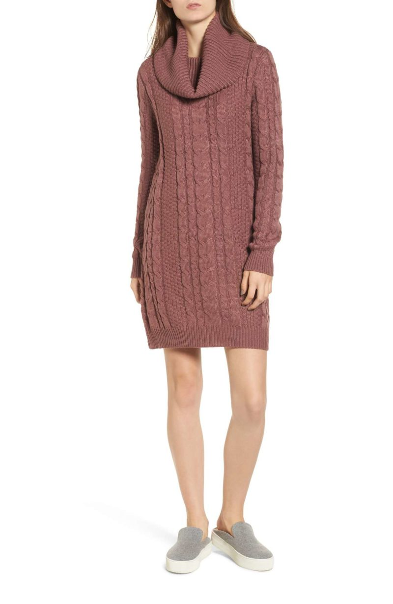 EVERLY Cowl Neck Sweater Dress Mauve cable knit sweater dresses under 100 dollars