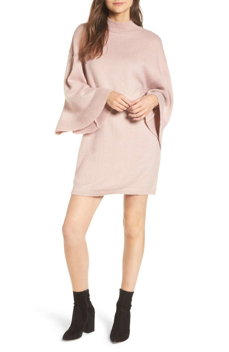 LOST INK Flare Sleeve Sweater Dress Blush Pink sweater dresses under 100 dollars holiday party winter