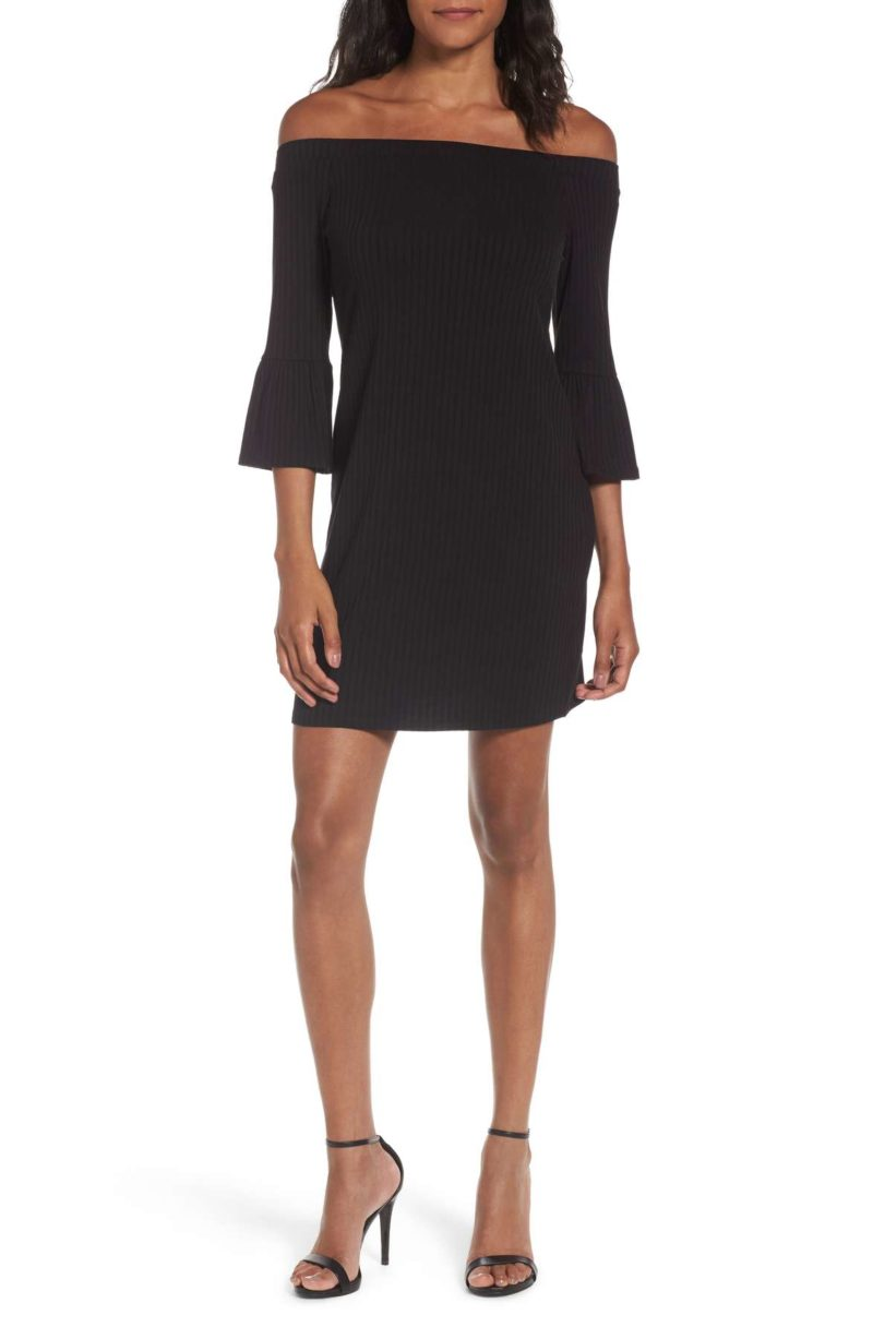 ONE CLOTHING Off The Shoulder Rib Knit Dress Bell Sleeves Black holiday party dresses under $100 nordstrom black friday sale