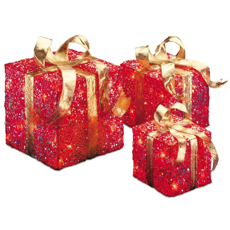 The Holiday Aisle 3 Piece Gift Boxed Christmas Decoration Set with Clear Lights wayfair cyber monday sale