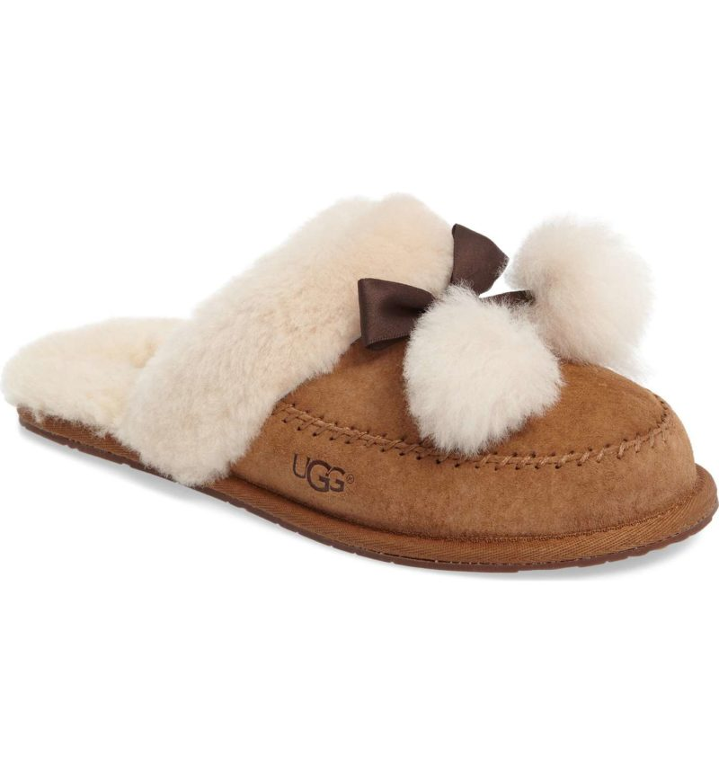 Ugg Hafnier Genuine Shearling Slipper Chestnut Suede trendy slippers for women holiday gifts