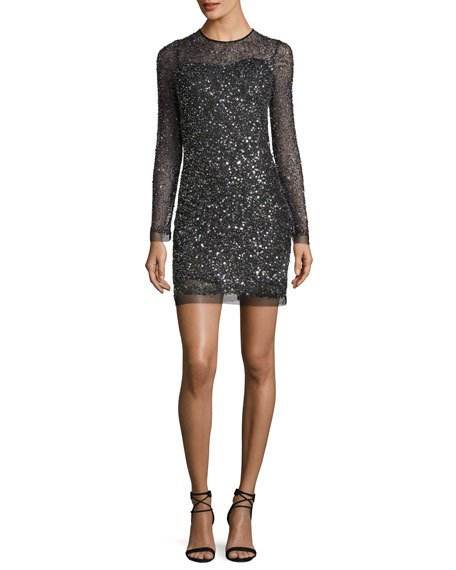 Parker Black Misha Long-Sleeve Sequin Illusion Cocktail Dress Multi BLack Silver sequin dresses holiday party new year's eve 2017