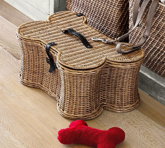 Pottery Barn DOGGIE TOY BASKET Handwoven Rattan pottery barn holiday gifts for dog moms