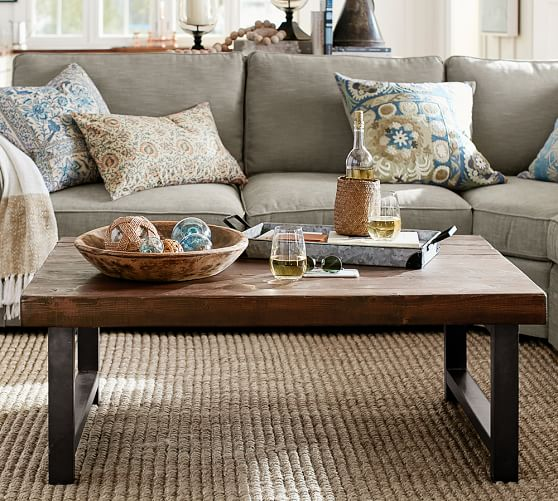 Pottery Barn GRIFFIN RECLAIMED WOOD COFFEE TABLE Eco-Friendly pottery barn holiday furniture sale
