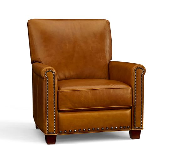 Pottery Barn IRVING LEATHER RECLINER WITH NAILHEADS pottery barn leather recliners sale 25 percent off