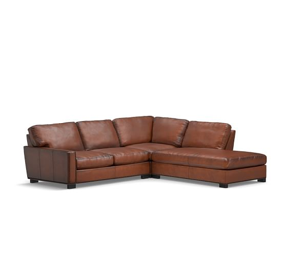 Pottery Barn TURNER SQUARE ARM LEATHER 3-PIECE BUMPER SECTIONAL WITH NAILHEADS pottery barn holiday furniture sale