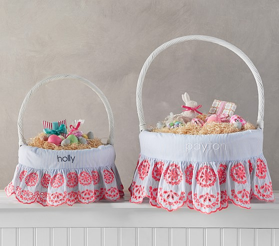 Pottery Barn Kids Preppy Eyelet Easter Basket Liners pottery barn kids easter baskets sale