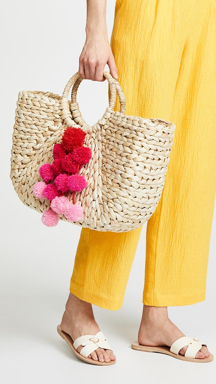 Hat Attack Round Handle Tote Pink straw bags shopbop sale event of the season