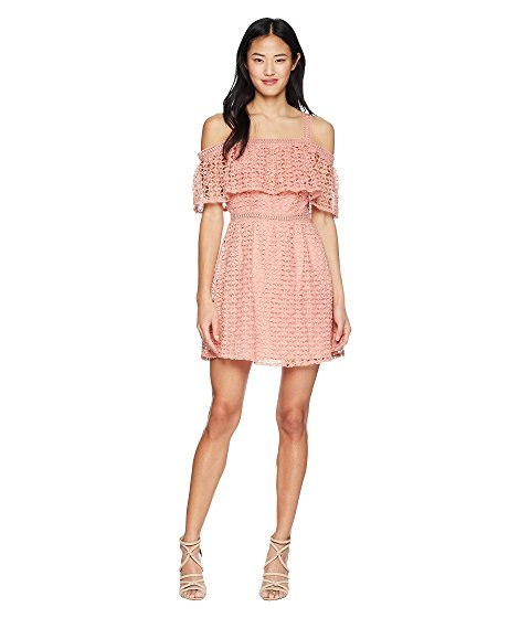 Jack by BB Dakota Aitana Geometric Lace Dress Rosette Pink crochet dresses spring summer 2018