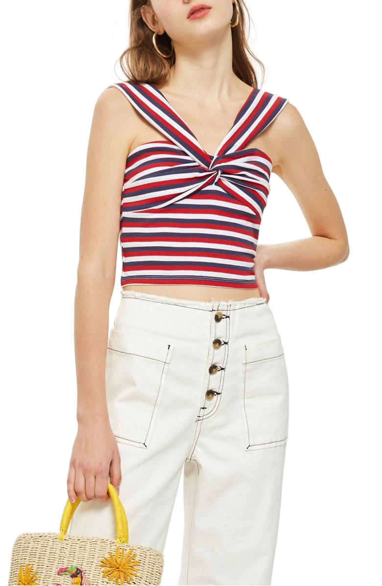 TOPSHOP Stripe Knot Crop Top Red Multi red white blue 4th of july shirts summer 2018