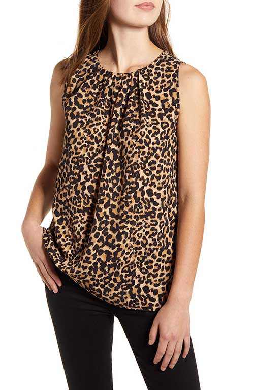 LOVEAPPELLA Pleat Neck Leopard Print Shell Tan Black Leopard tops