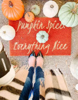 Lifestyle blogger, Candie Anderson has the scoop on pumpkin spice and everything nice doormats and trendy fall decor. They'll make great gifts for the PSL fan or for yourself.