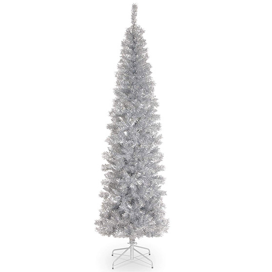 National Tree Company 6 Foot Silver Tinsel Tree with Metal Stand Silver Christmas trees