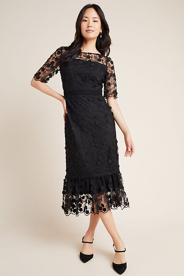 Shoshanna Embroidered Lace Midi Dress Black dresses holiday party parties