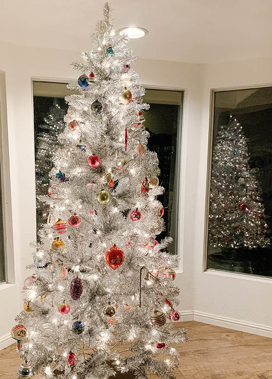 Lifestyle expert and blogger, Candie Anderson has the scoop on 20 of the best Silver Christmas trees. Here is a photo of her Holiday Time 6.5 foot tree lit up!
