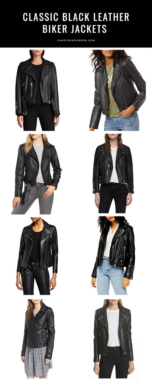 Style expert, journalist and fashion blogger Candace Rose Anderson of the blog Candie Anderson (candieanderson.com) has the scoop on 21 classic leather black biker jackets and moto jackets every woman needs! They can be worn throughout the year with dresses, skirts, jeans and pants! They'll also make great holiday gifts for the lady in your life.